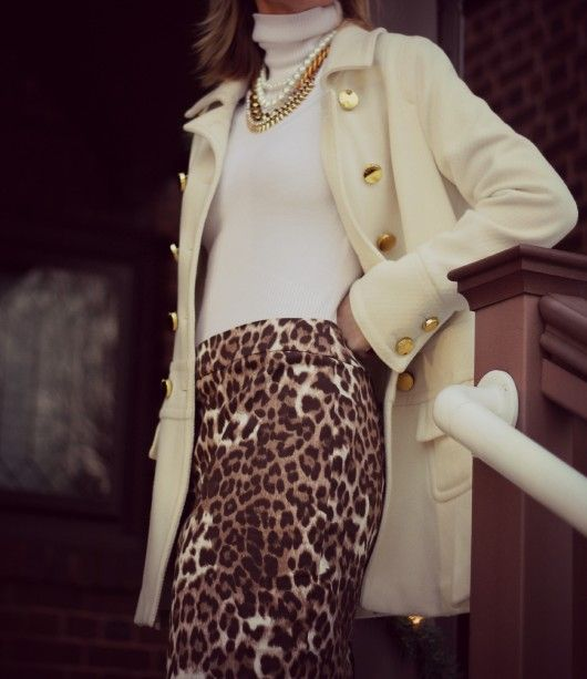 classy turtleneck and leopard print skirt/Pop of Style
