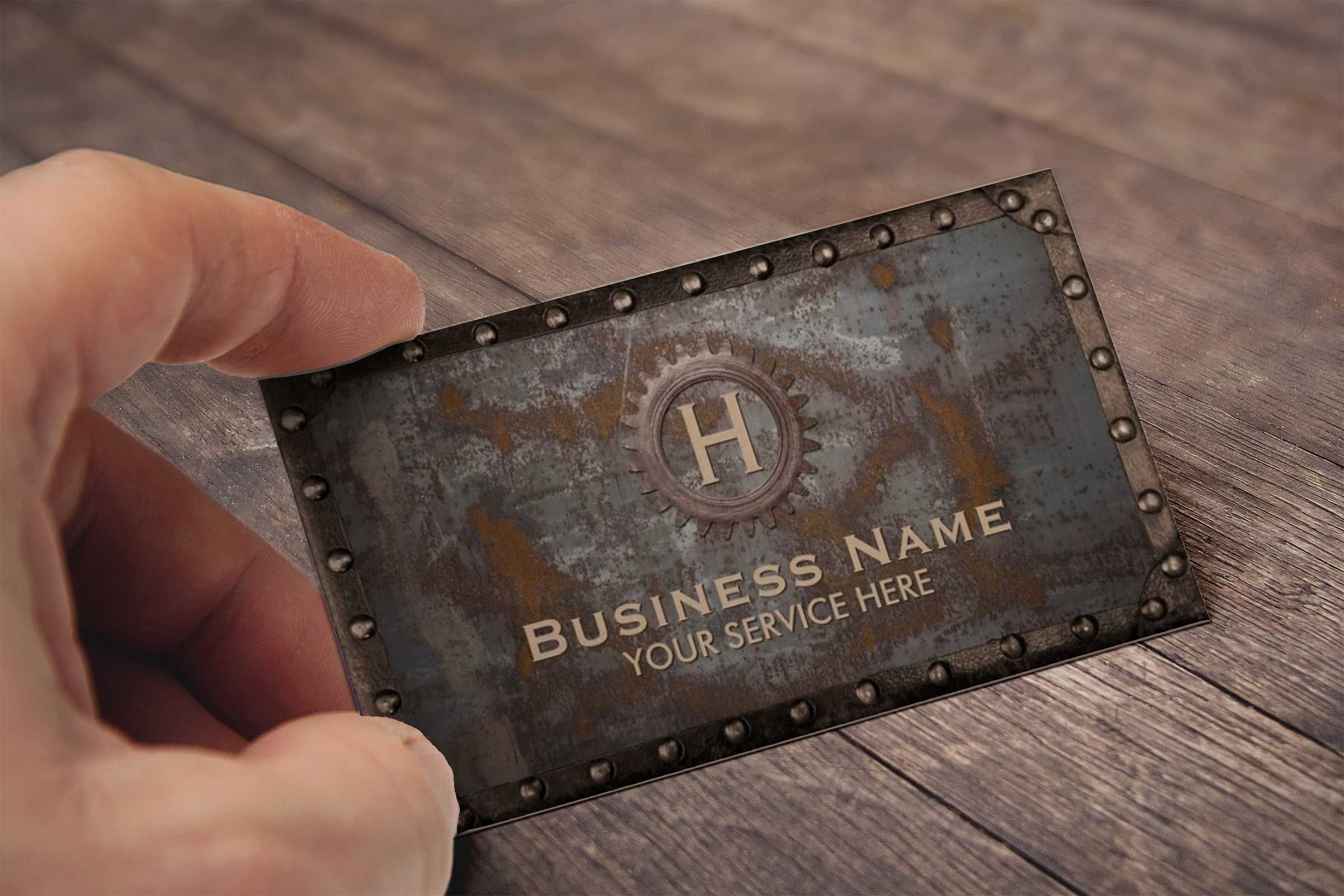 Construction Vintage Monogram Rusty Metal Business Card Steampunk