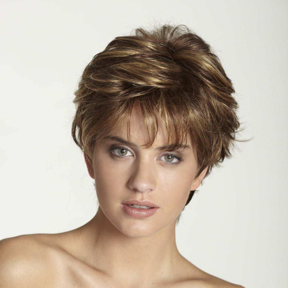 wig features: monofilament top short, straight, layered wig