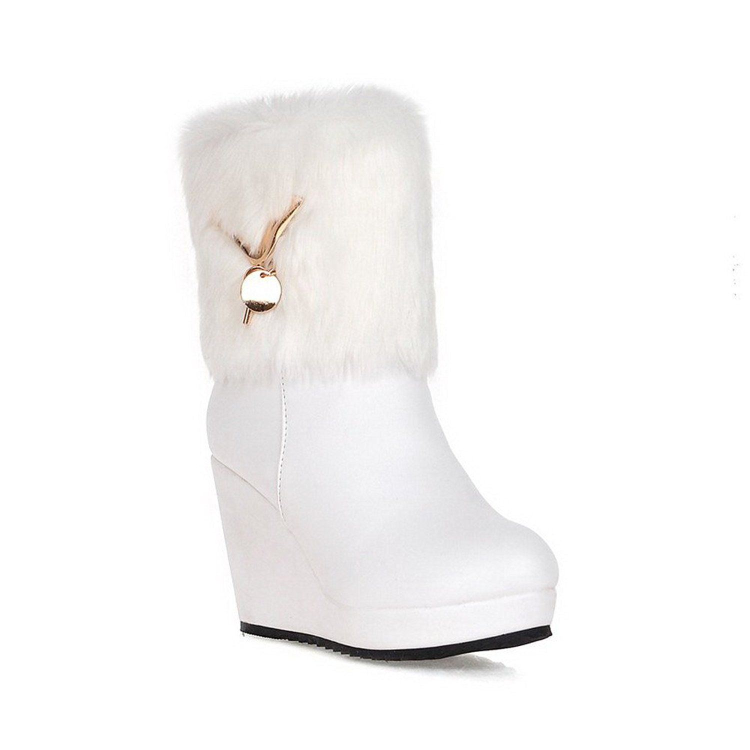 Women's Blend Materials Solid Closed-Toe Boots With Thread and Rubber Soles