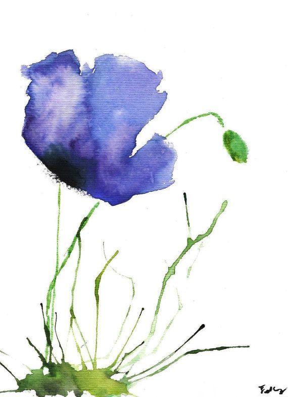 GICLEE PRINT Little Purple Poppy Watercolor por TheGrayPoppy