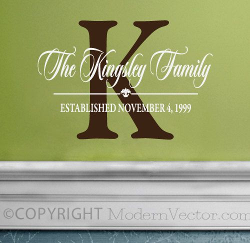 LARGE Size Personalized Family Name Monogram Vinyl Wall Decal Sticker Living room Foyer Bedroom
