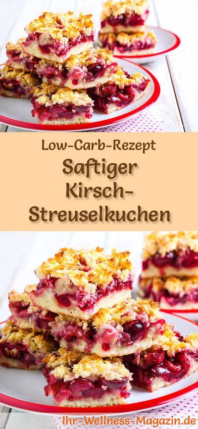 Saftiger Low Carb Kirsch-Streuselkuchen - Rezept ohne Zucker
