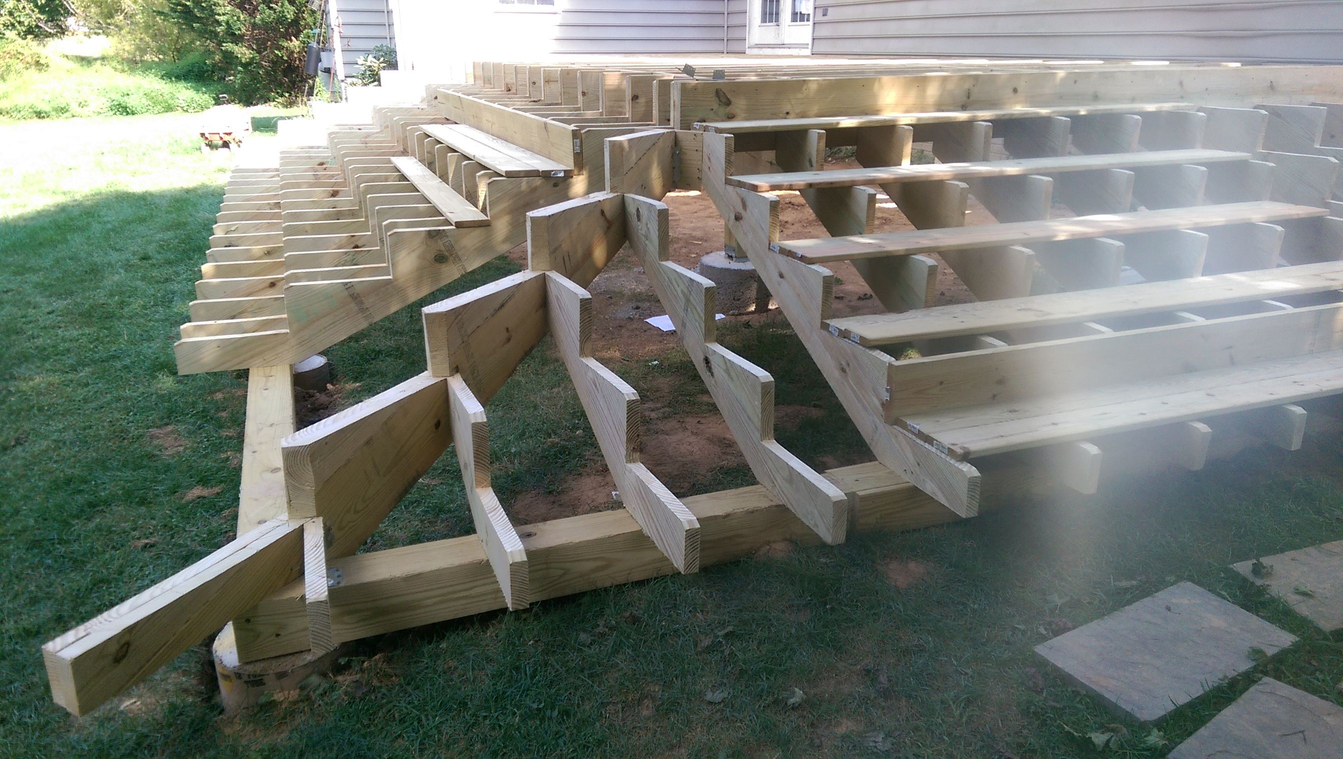 Image result for corner deck stair stringer   Deck stairs ...