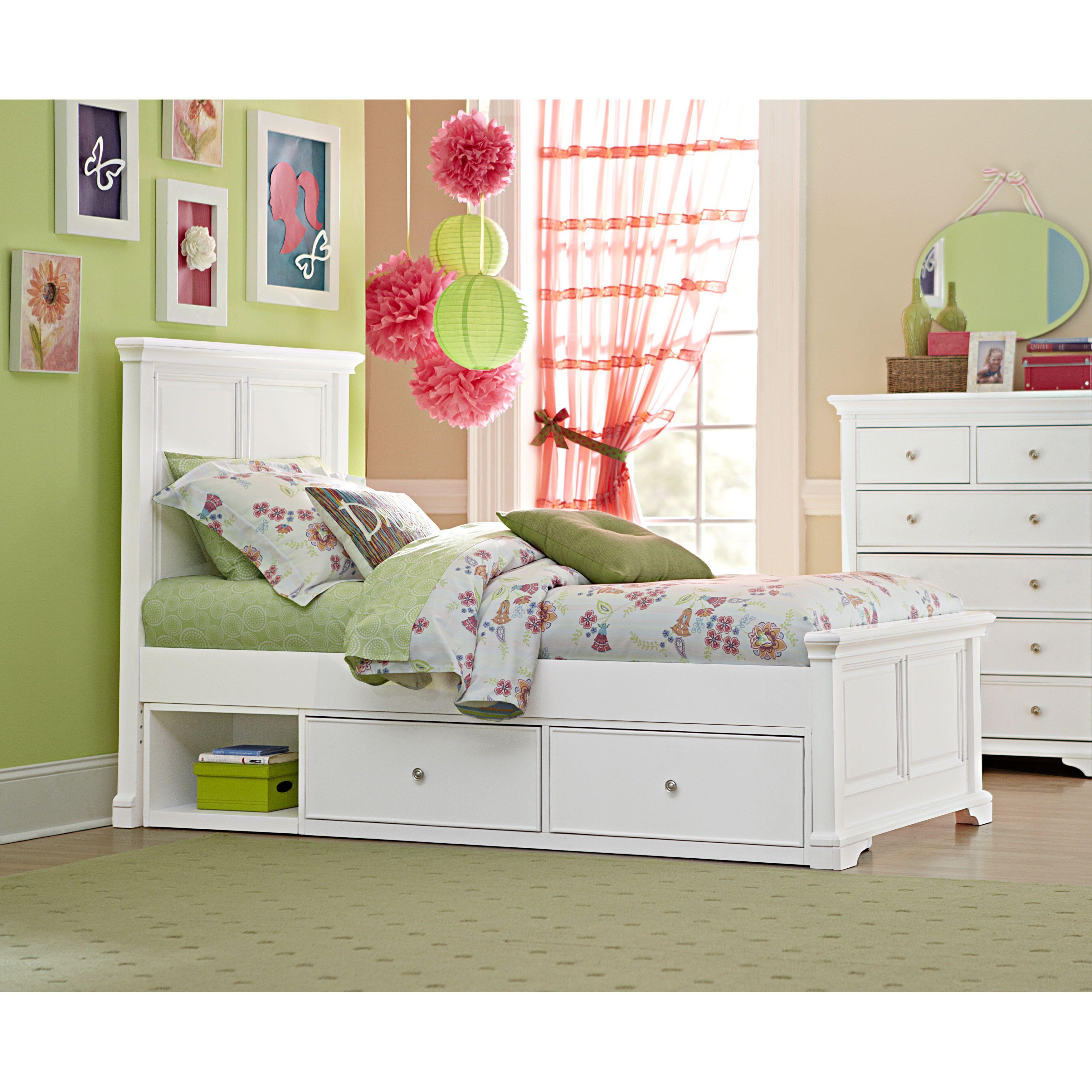 NE Kids Walnut Street Devon White Twinsize Panel Bed and