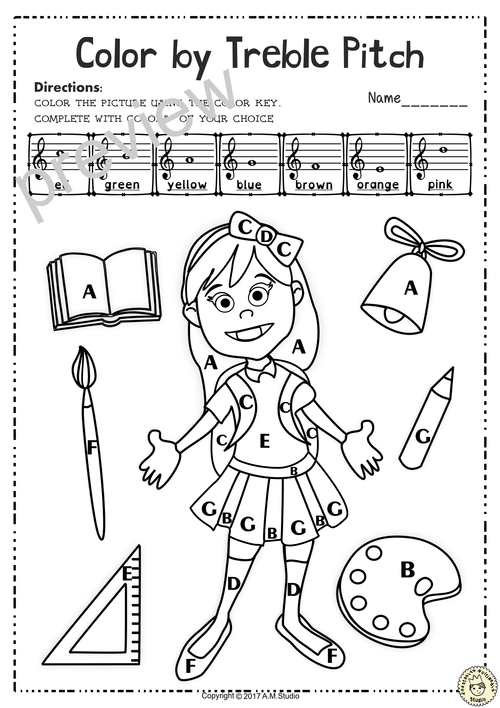 Back To School Treble Clef Note Naming Worksheets With