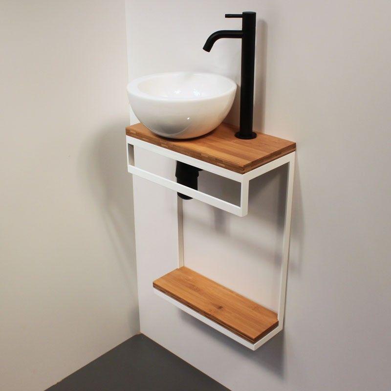 Lave Mains Acier Bois Blanc Lave Main Lave Main Design Idee Deco Toilettes