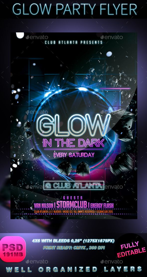 Glow Party Flyer | Glow party, Party flyer and Font logo