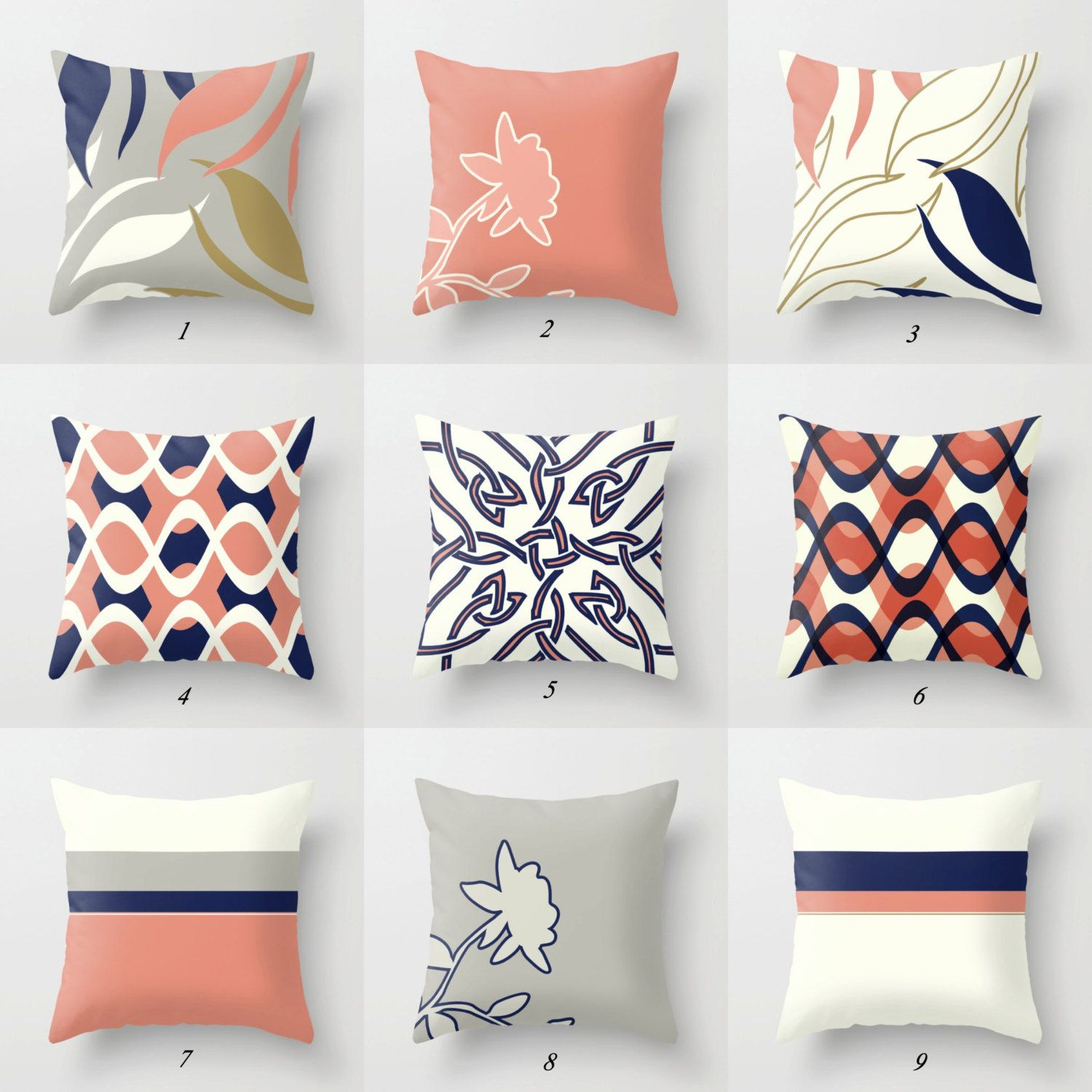 Throw Pillow Covers Decorative Pillows Pink Gray Navy Blue Pillows Pink Throw Pillow Geometric Cushion Rectangular Pillow Lumbar Pillow Blue And White Pillows Blue Throw Pillows Grey Throw Pillows