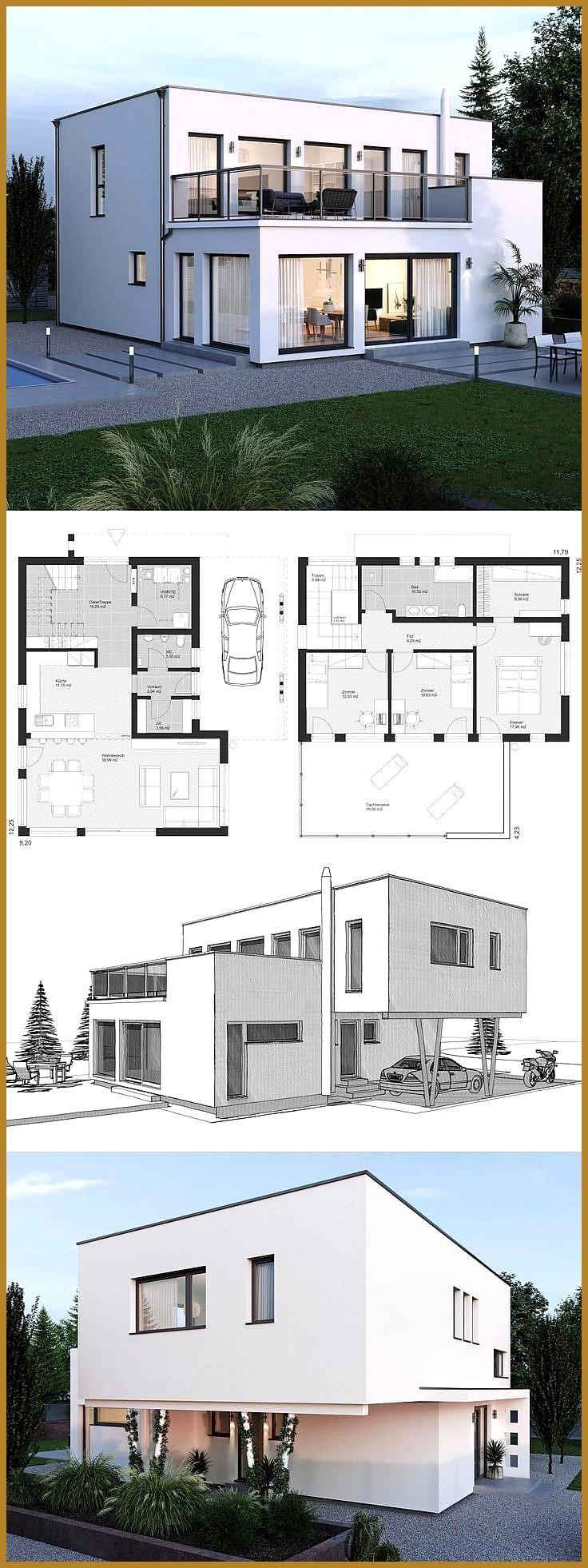 Modern Villa Minimalist Style Architecture Design House Plans ELK Haus 164  Drea…