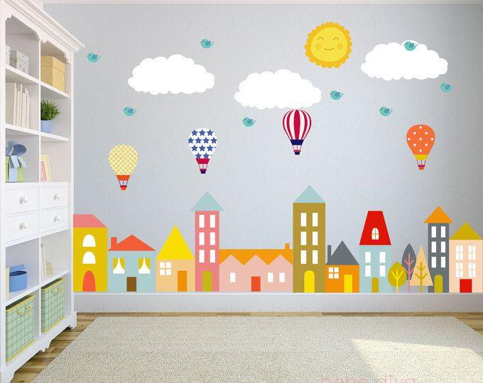 Stadt-Wandtattoo, Wand-Aufkleber-Kinderzimmer, Kinderzimmer ...