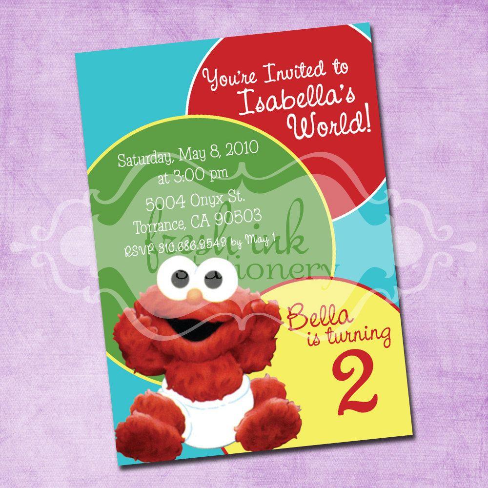 Baby Elmo Birthday Party Invitation by FreshInkStationery