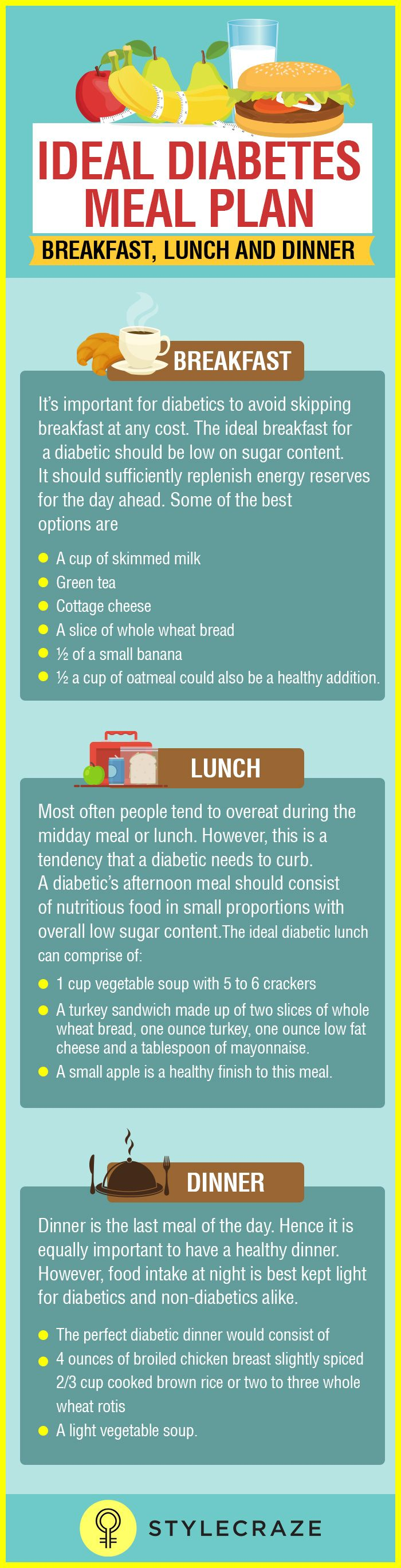 Diabetes Diet (Breakfast, Lunch and Dinner)