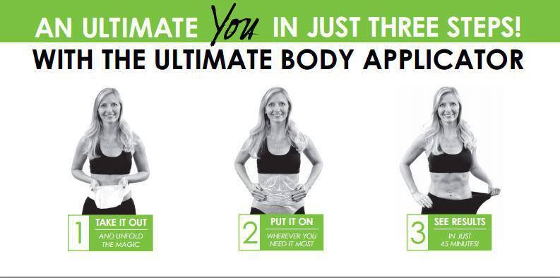 3 simple steps... take it out, put it on, see results in a little as 45 minutes!