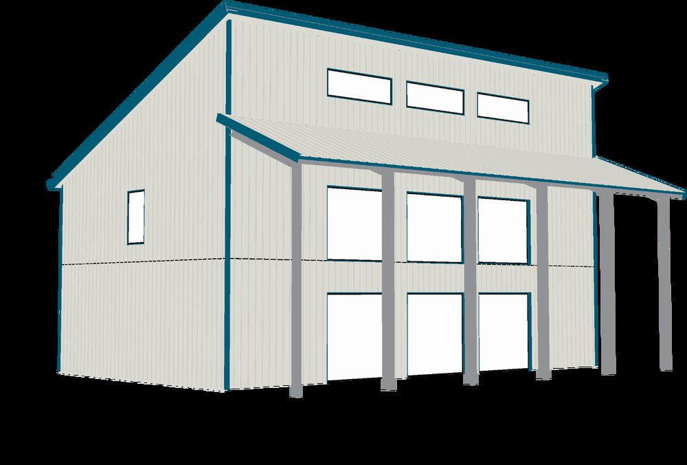 Steel Home Contemporary Shell Kit 2 Floors Single Slope Roof Steel House Modern Roofing Roofing