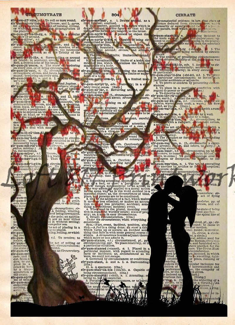 Kissing Under A Cherry Blossom Tree Falling In Love Romantic Art Print Dictionary Art Print Vintage Arte Pintura Sobre Periodico Pinturas