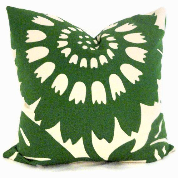 Emerald Green Sunflower Duralee Decorative Pillow by PopOColor, $45.00