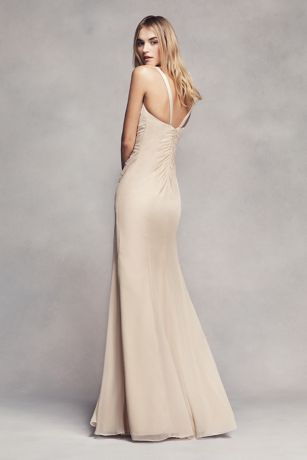 Ruched Long Bridesmaid Dress With Ruffles David S Bridal Glamorous Bridesmaids Dresses Vera