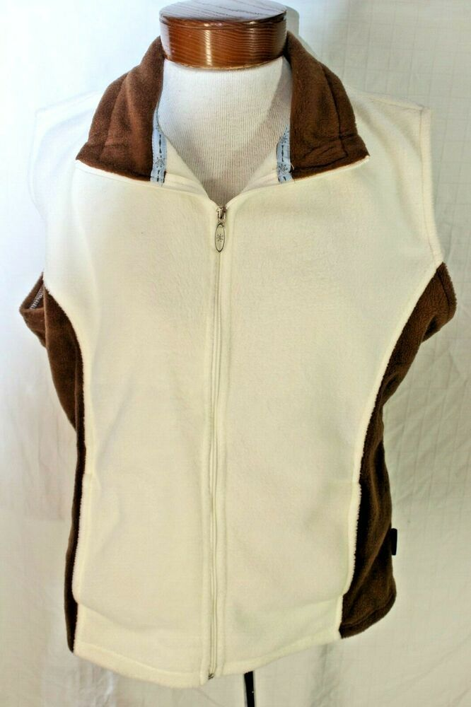 10000 Ft Above Sea Level Womens XL White Brown Sleeveless Zip Fleece Type Vest #10000FtAboveSeaLevel #Vest #Casual