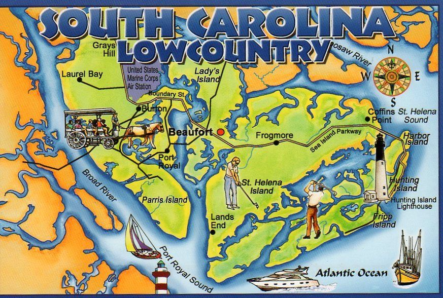Lowcountry South Carolina Map.Map Of The South Carolina Lowcountry Near Beaufort Southern Us