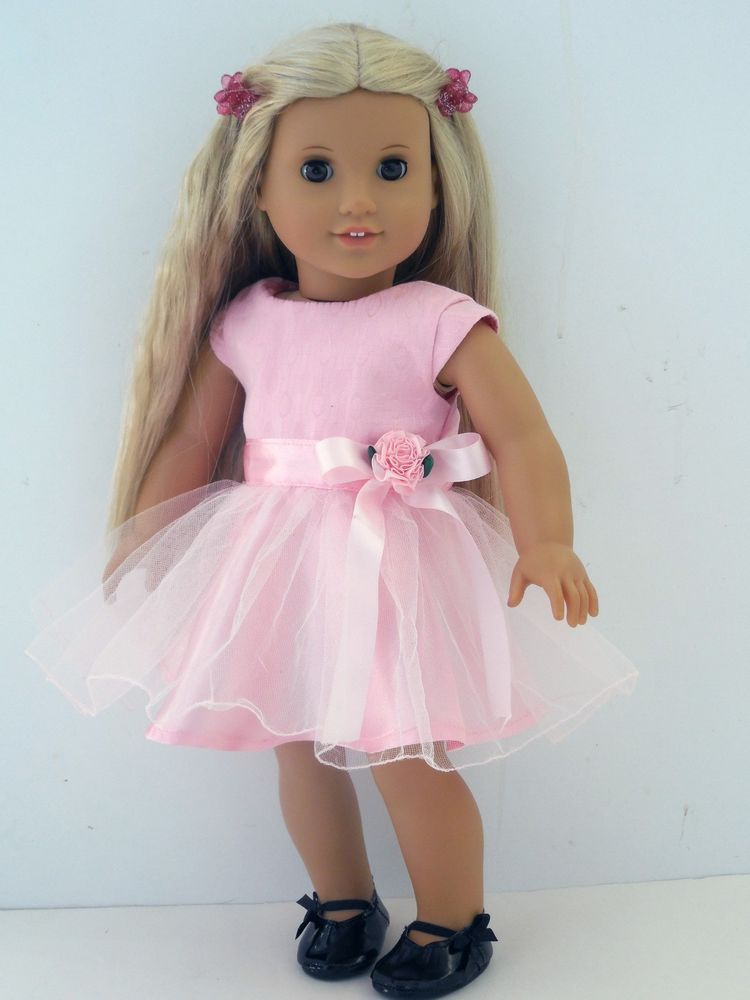 "Satin, Tulle, Pink Party Dress & Shoes, 18"" American Girl Doll ..."