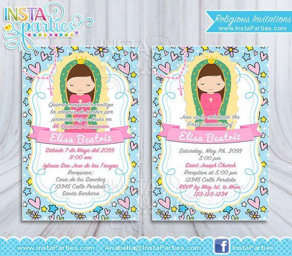 eef20d6f81130 Invitaciones Primera comunión niña Virgencita bautizo virgen guadalupe 4x6  rosa confirmación elegante imprimibles