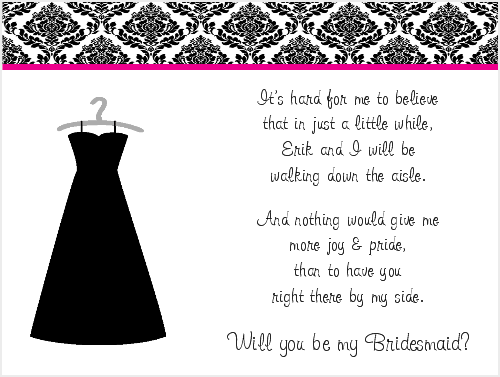 Will You Be My Bridesmaid Poem Cards