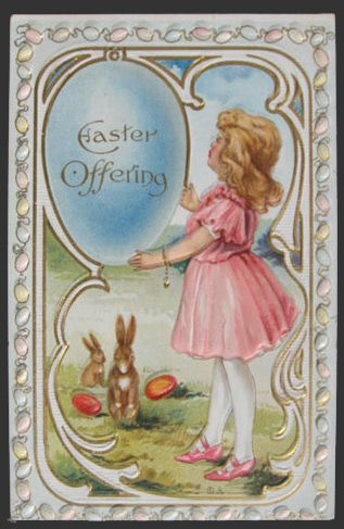 Easter Offering ~ Girl with Two Bunnies Postcard