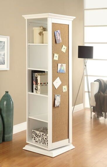 White Finish Wood Rotating Storage Cabinet With Large Cork Board And Dressing Mirror Open Shelves The Features 5 A Dr