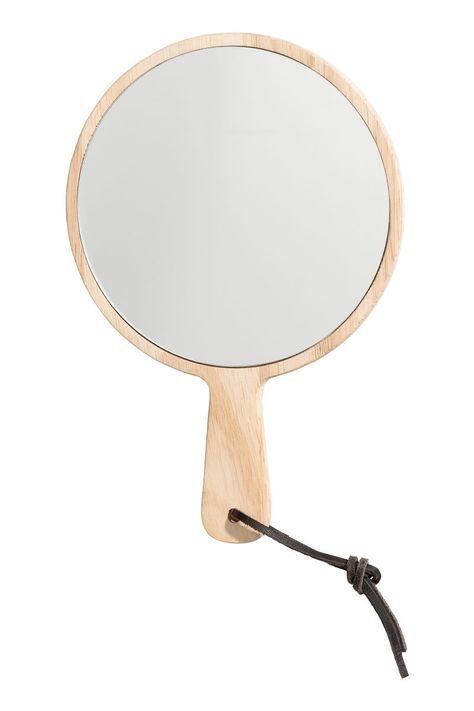 Holz Kleiner Runder Spiegel Mit Holzrahmen Und Griff Mit