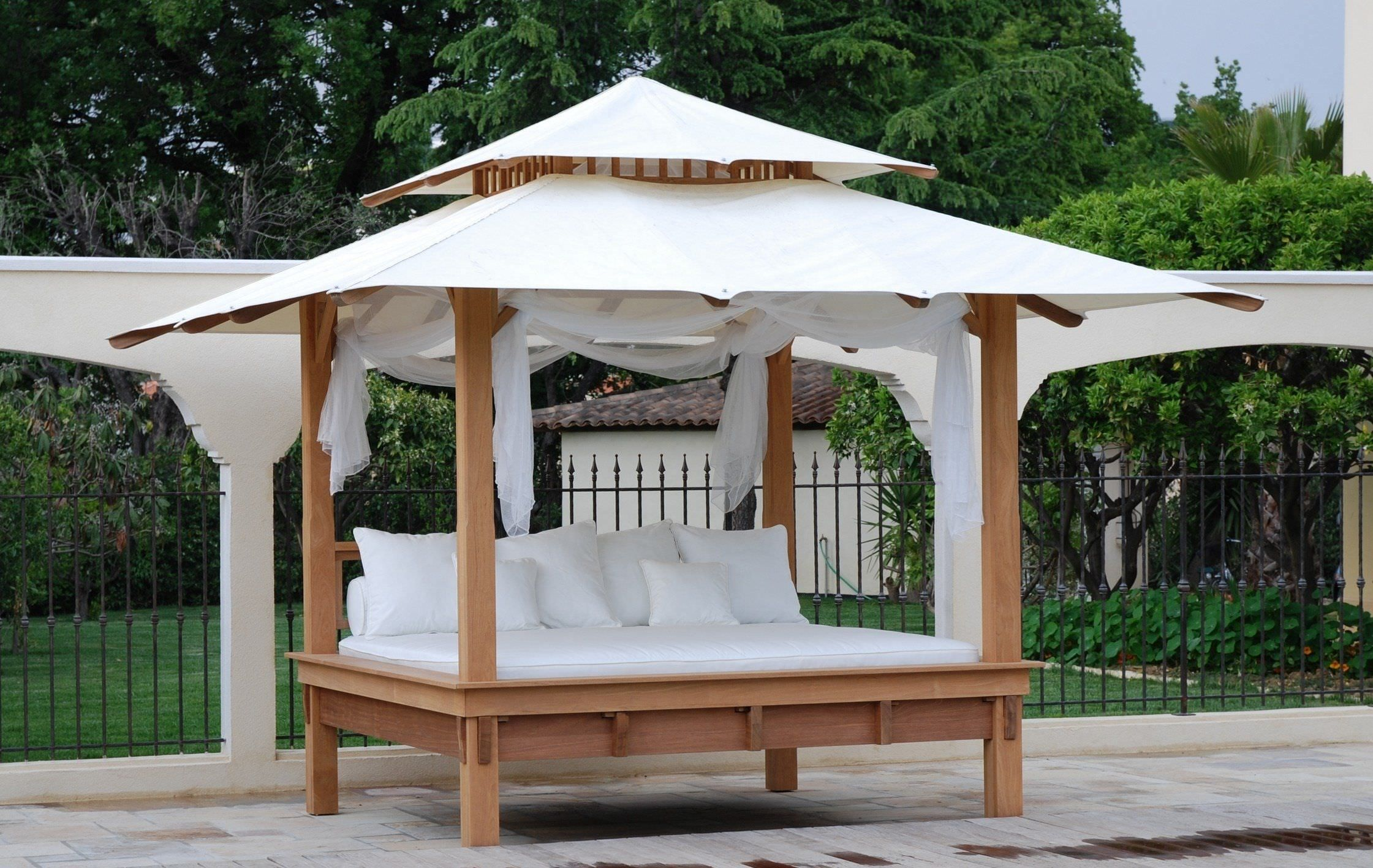 Furniture, Outdoor Furniture Captivating Outdoor Canopy Bed With Wooden Bed  Frame And White Canopy Also White Bedding And Cushions Awesome Outdoor Bed  ...
