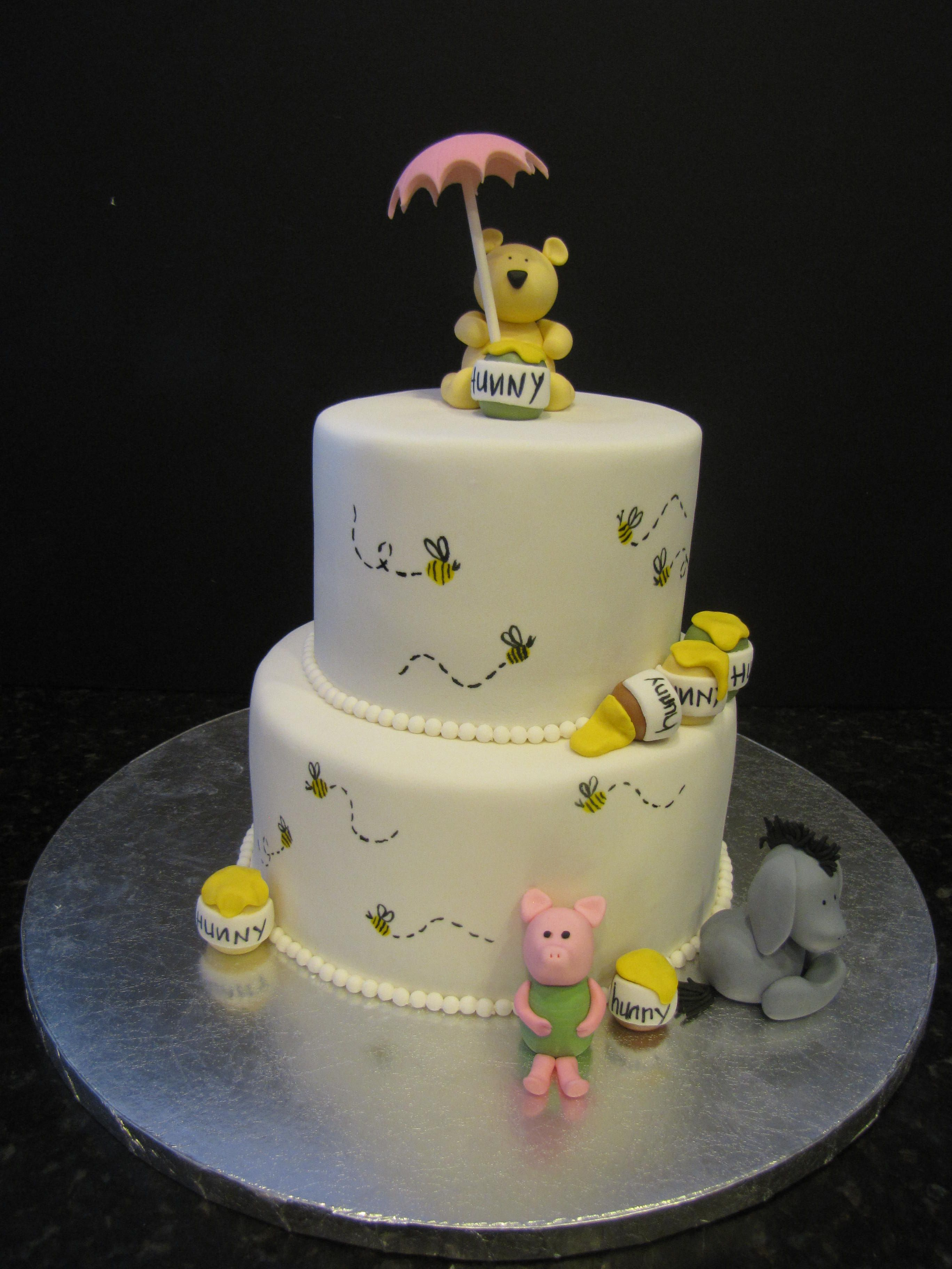 Classic pooh baby shower cake baby shower cakes baby