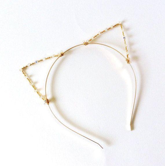 Cat Ears Headband Gold Cat Ears Headband Gold Crystal Cat Crystal Cat Ears