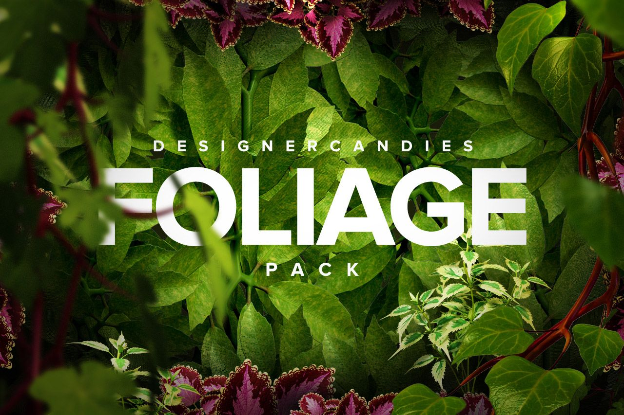 The Foliage Pack by DesignerCandies includes 12 free foliage renders of leaves, trees, ivy, vines, flowers and more to use in graphic design projects free of charge.