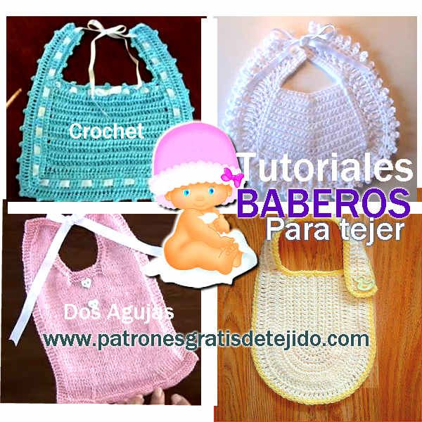 Como tejer baberos con ganchillo y con palitos | Knitting for kids ...