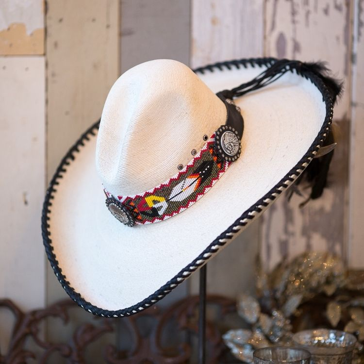 617ee34fc3a Indian Feather Hat with Beaded Hat Band - 265.00 - via  Christin Miller