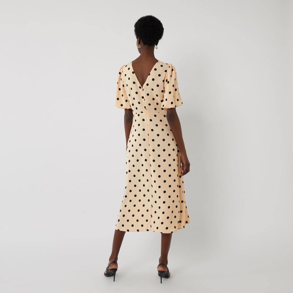Warehouse Spot Puff Sleeve Midi Dress Neutral Print 3 [ 1000 x 1000 Pixel ]