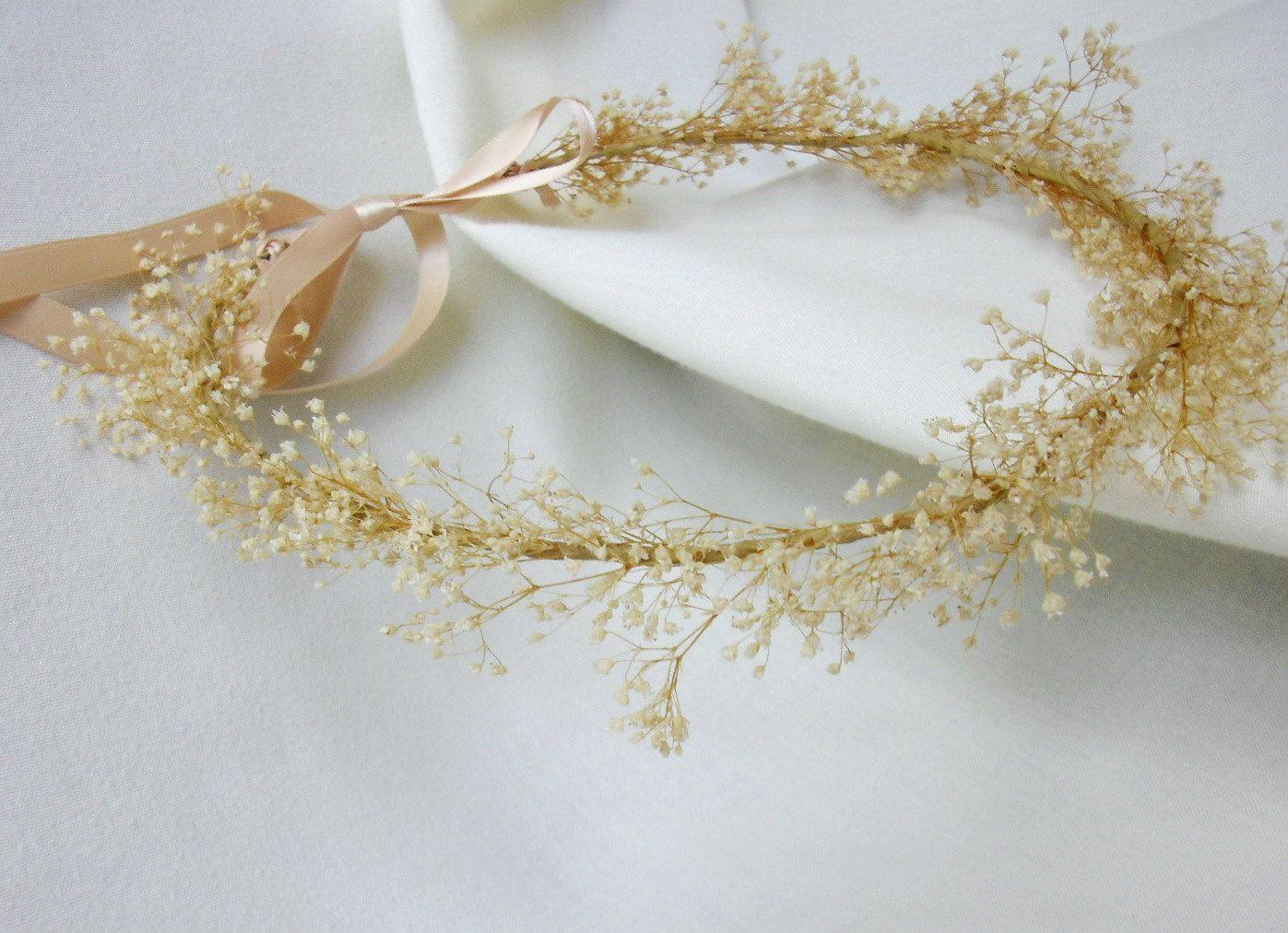 Bridal hair accessories babys breath - Beach Wedding Bridal Floral Headband Hair Wreath Babys Breath Ivory Flower Hair Accessory Head Wreath Circlet
