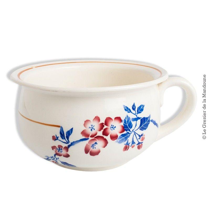 Ancien Vase De Nuit Pot De Chambre Faiencerie De Pexonne F F Modele Avril French Antique Faiencerie Vase Pots