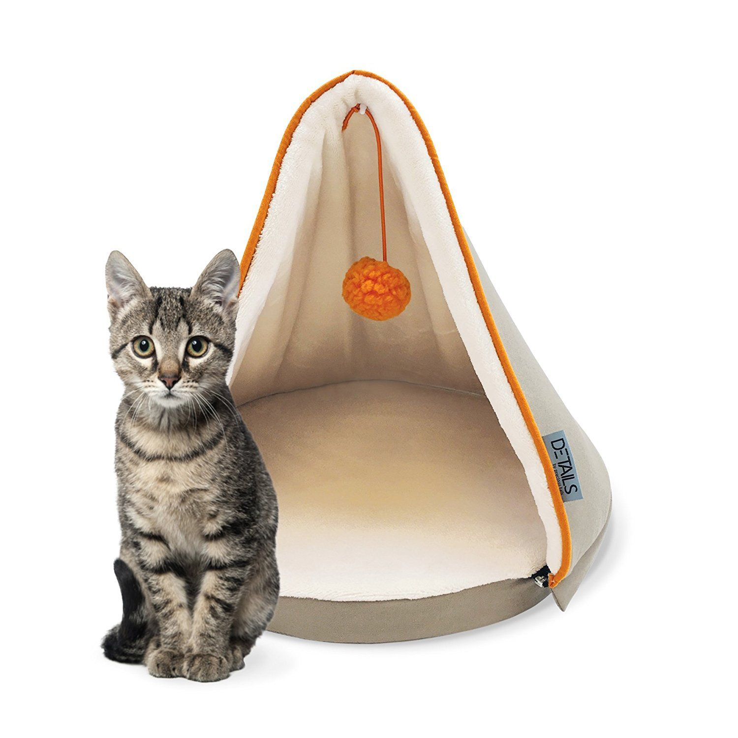 Precious Tails Taupe Canvas Cat Bed with Fleece Interior and Zipper Removable Teepee Top ** You can get more details here : Pet dog bedding