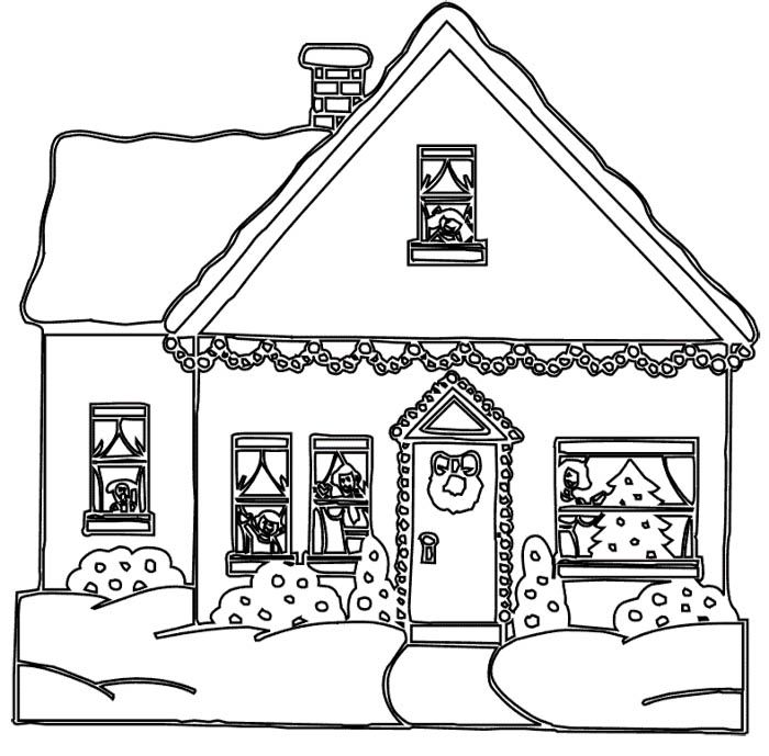 Christmas House Decoration Coloring Page