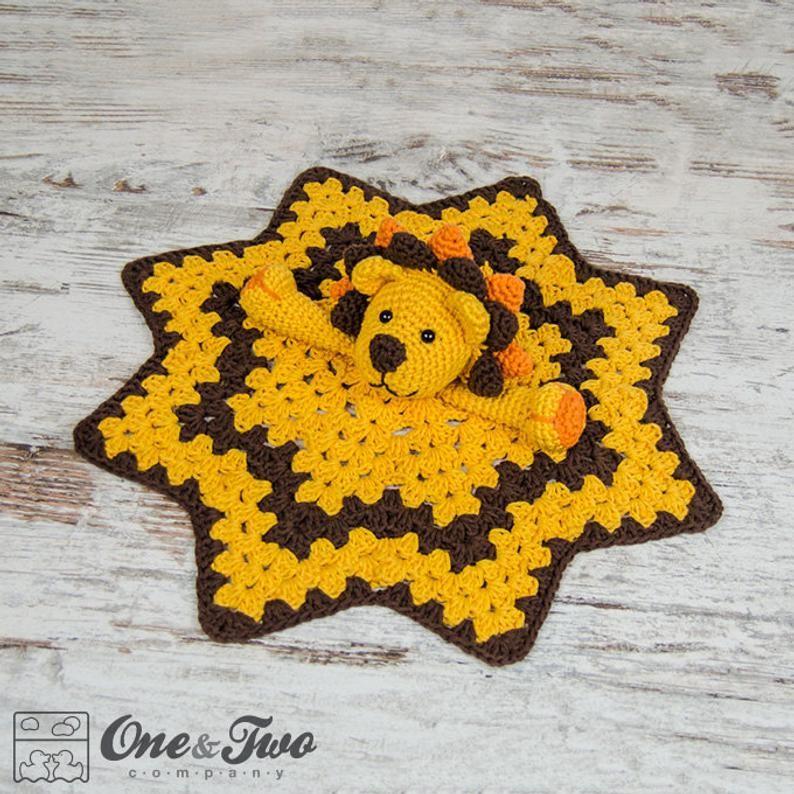 Lovey Crochet Pattern - Lion PDF Security Blanket - Tutorial Digital Download DIY - Logan the Lion Lovey - Dou Dou - Baby Toy