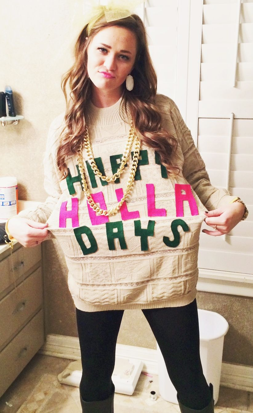 Tacky Christmas Party Outfit Ideas Part - 20: Crafting Your Own Tacky Christmas Sweater. Perfect Sweater For An Ugly  Sweater Party!