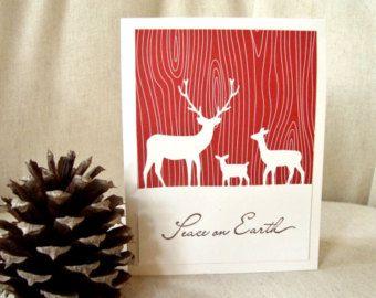 Rustic Deer Christmas Cards, Rustic Deer Christmas Card Set, Deer Family Christmas Cards, Woodland Christmas Cards,
