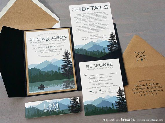 Lake Wilderness Wedding Invitation Sample | Flat or Pocket Fold Style | Rustic Mountains and Trees | Pocket Invitation