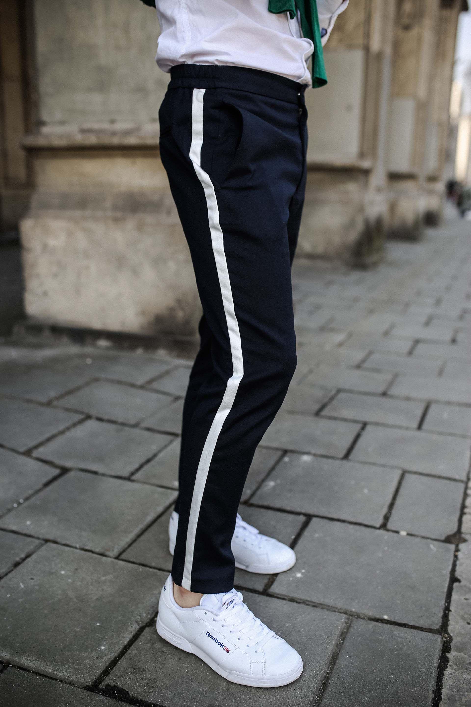 Spodnie Z Lampasami Zielony Kardigan Meska Stylizacja Wiosenna Moda Meska Wiosna 2018 Gmale Blog O Modzie Meskiej Fashion Pants Sweatpants