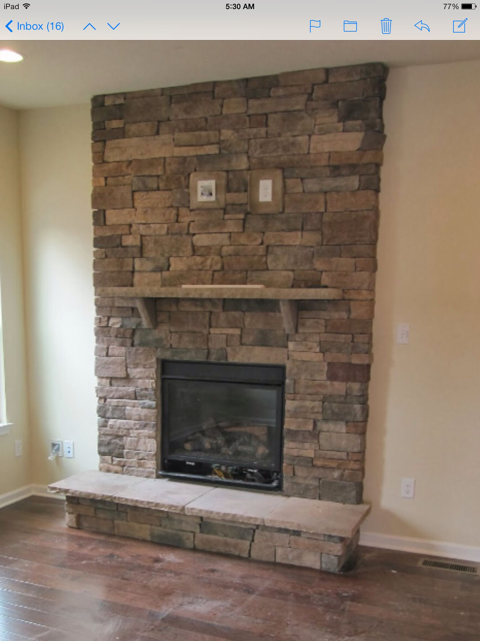 Stacked Stone Fireplace With Tv Mount Stacked Stone Fireplaces Stone Fireplace Stacked Stone