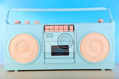 Wall Mural Colorful retro radio, on blue background