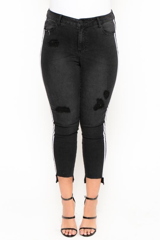 dcf9832fe9526 Plus Size Distressed Side Striped Skinny Jean - Black