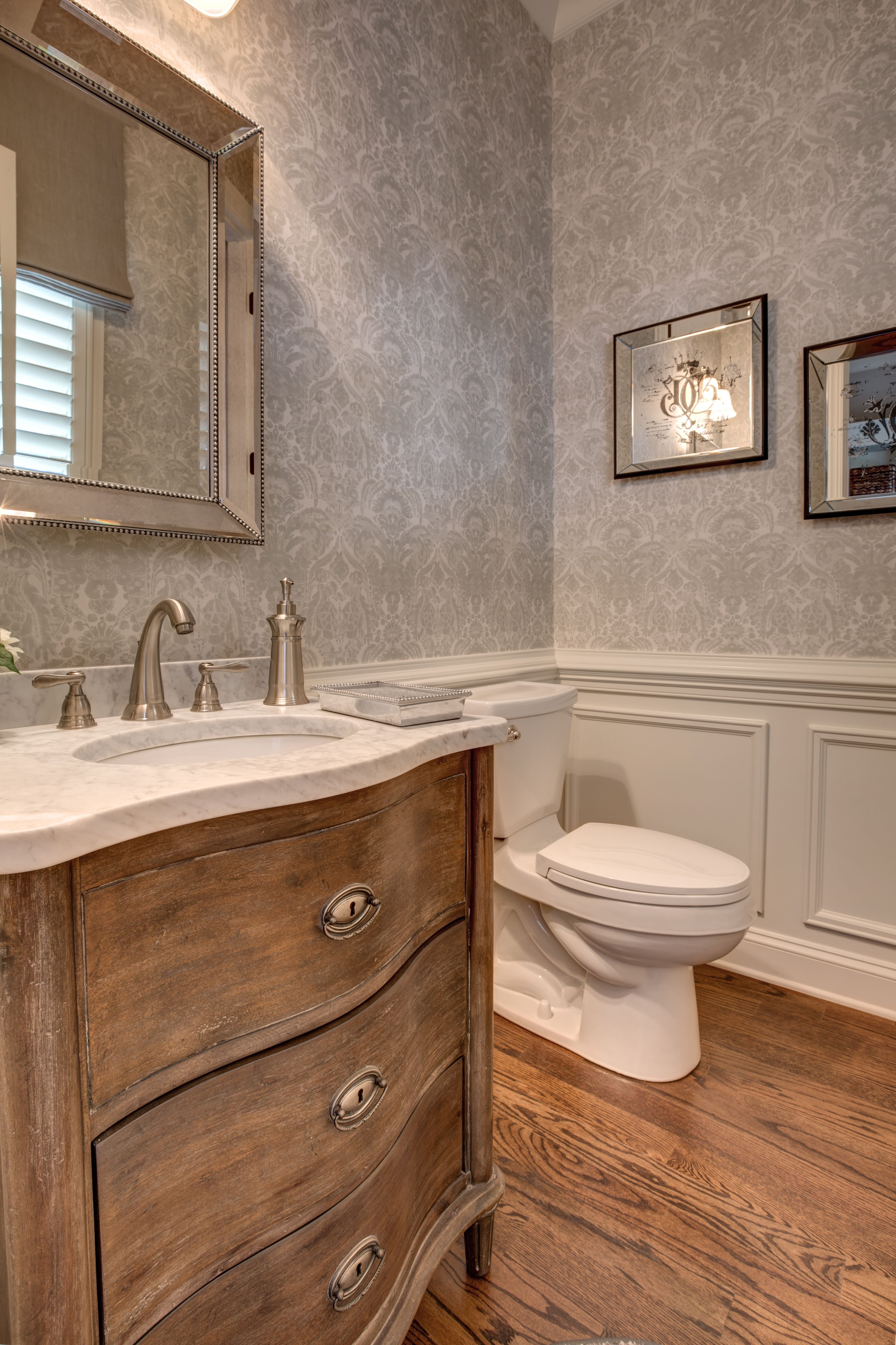 Guest bath london wall covering restoration hardware vanity restoration hardware mirror john